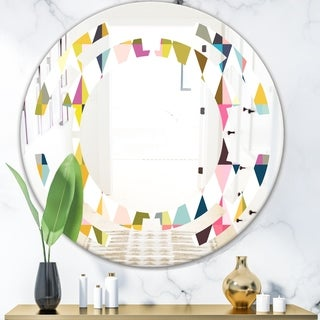 Designart 'Diamond Retro VII' Modern Round or Oval Wall Mirror - Space - Multi