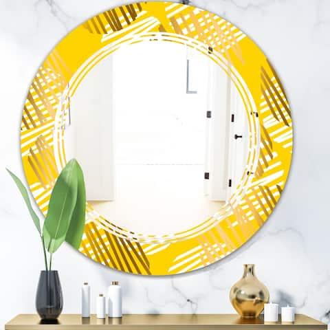 Designart 'Abstract Retro Geometric IV' Modern Round or Oval Wall Mirror - Triple C