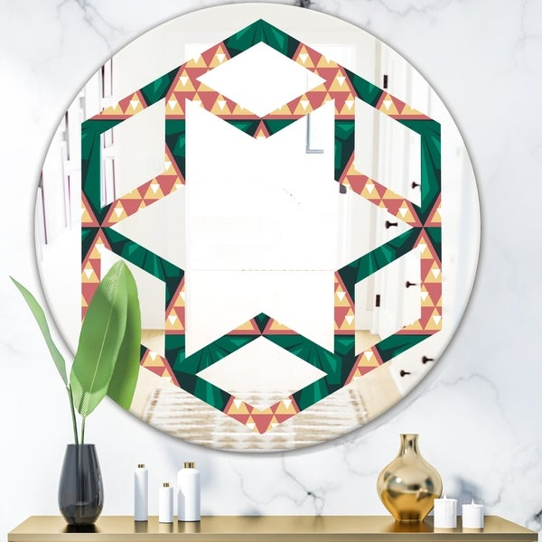 Designart 'Abstract Geometric Retro II' Modern Round or Oval Wall Mirror - Hexagon Star