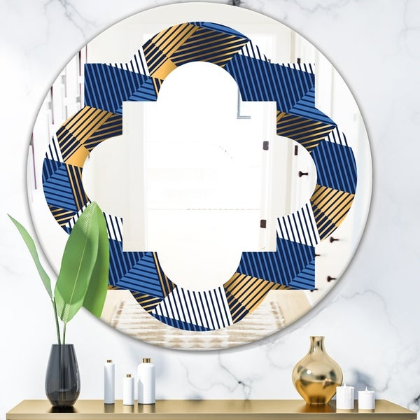Designart 'Retro Luxury Waves In Gold and Blue V' Modern Round or Oval Wall Mirror - Quatrefoil