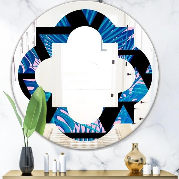 Designart 'Retro Floral Pattern XIV' Modern Round or Oval Wall Mirror - Quatrefoil