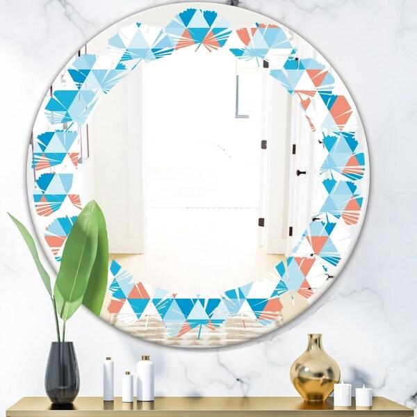 Designart 'Triangular Retro Design II' Modern Round or Oval Wall Mirror - Leaves
