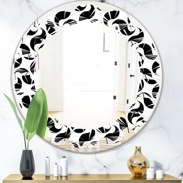 Designart 'Monochrome Geometric Pattern IV' Modern Round or Oval Wall Mirror - Leaves
