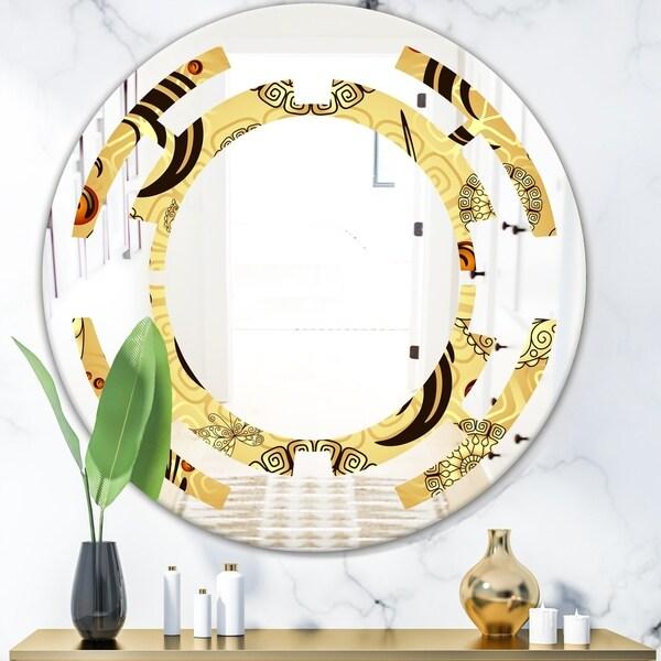 Designart 'Golden Luxury Pattern I' Modern Round or Oval Wall Mirror - Space
