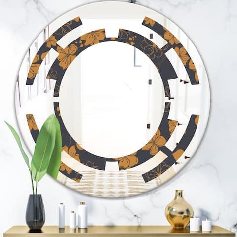 Designart 'Retro Handdrawn Poppies II' Cottage Round or Oval Wall Mirror - Space