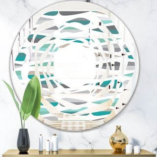 Designart 'Retro Abstract Drops III' Modern Round or Oval Wall Mirror - Whirl