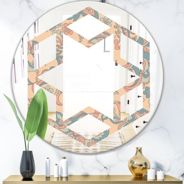 Designart 'Retro Indian Floral Batik II' Modern Round or Oval Wall Mirror - Hexagon Star