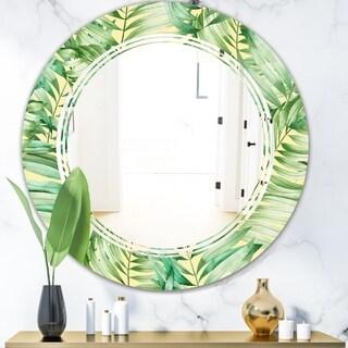 Designart 'Tropical Retro Foliage' Modern Round or Oval Wall Mirror - Triple C