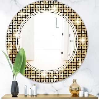 Designart 'Abstract Gold Mosaic' Modern Round or Oval Wall Mirror - Triple C