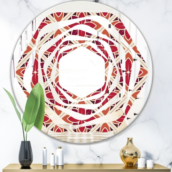 Designart 'Retro Floral Pattern VI' Modern Round or Oval Wall Mirror - Whirl