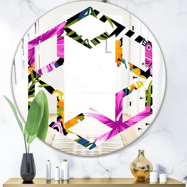 Designart 'Tropical Foliage and Geometrics' Modern Round or Oval Wall Mirror - Hexagon Star - Multi
