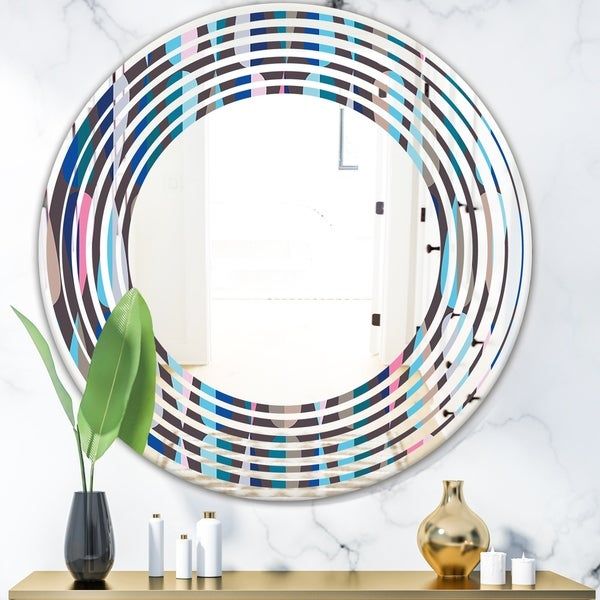 Designart 'Retro Abstract Drops VIII' Modern Round or Oval Wall Mirror - Wave