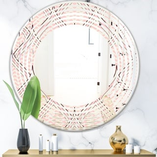 Designart 'Retro Ornament With Decorative Elements' Modern Round or Oval Wall Mirror - Wave