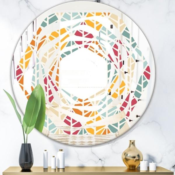 Designart 'Diamond Retro X' Modern Round or Oval Wall Mirror - Whirl - Multi