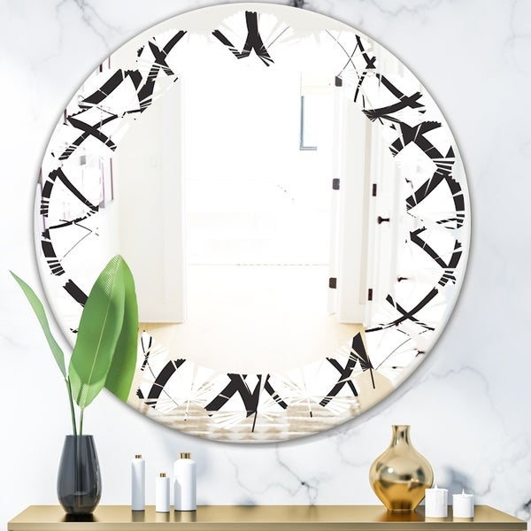 Designart 'Monochrome Geometric Pattern' Modern Round or Oval Wall Mirror - Leaves