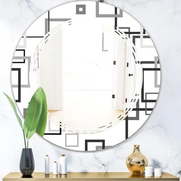 Designart 'Abstract Retro Design II' Modern Round or Oval Wall Mirror - Triple C