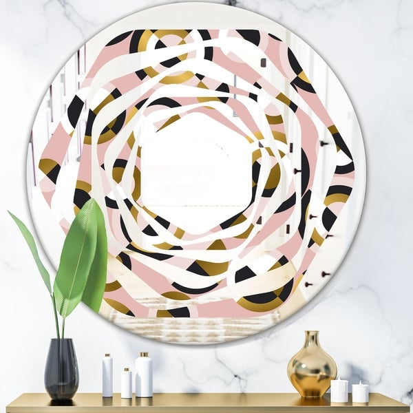 Designart 'Circular geometric shapes retro pattern' Modern Round or Oval Wall Mirror - Whirl