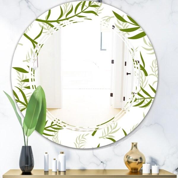 Designart 'Tropical Botanicals I' Modern Round or Oval Wall Mirror - Triple C