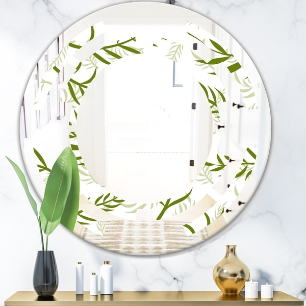 Designart 'Tropical Botanicals I' Modern Round or Oval Wall Mirror - Space