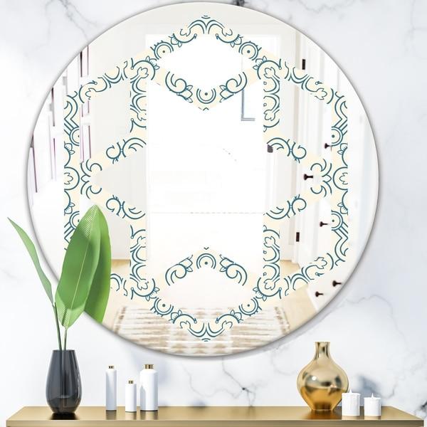 Designart 'Floral Retro Pattern IV' Modern Round or Oval Wall Mirror - Hexagon Star