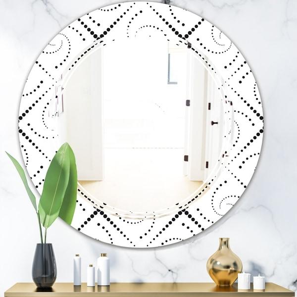 Designart 'Retro Geometrical Abstract Minimal Pattern III' Modern Round or Oval Wall Mirror - Triple C