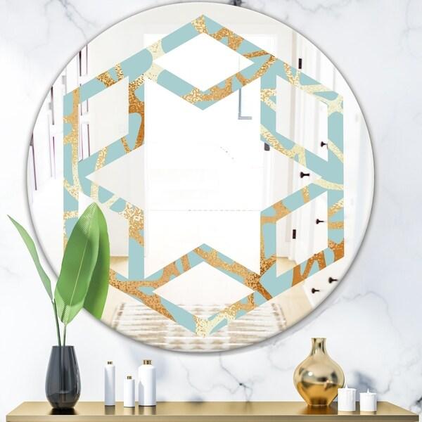 Designart 'Golden Luxury Metallic Geometrics IV' Modern Round or Oval Wall Mirror - Hexagon Star