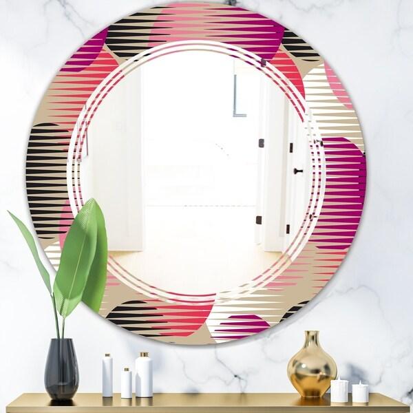 Designart 'Retro Circular Pattern VIII' Modern Round or Oval Wall Mirror - Triple C