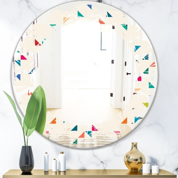 Designart 'Abstract Triangular Retro Pattern I' Modern Round or Oval Wall Mirror - Leaves - Multi