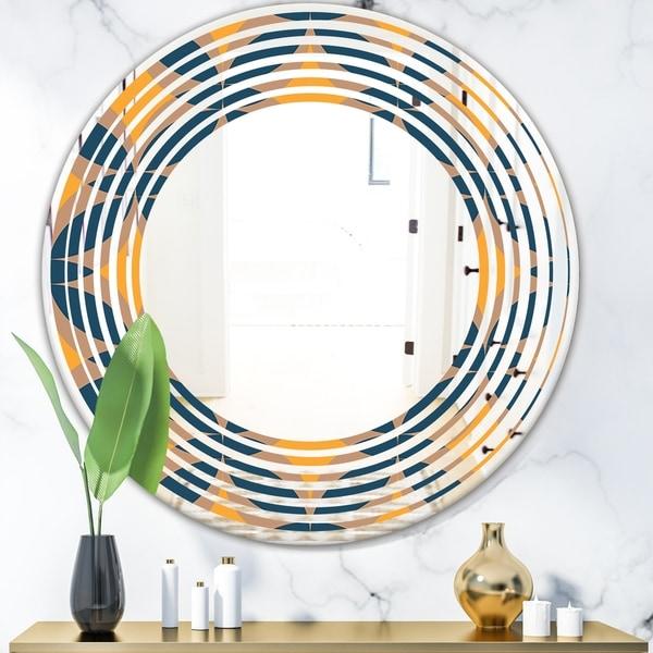 Designart 'Abstract Retro Design III' Modern Round or Oval Wall Mirror - Wave