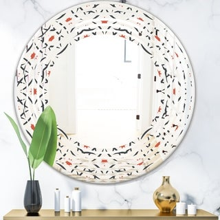 Designart 'Abstract Retro Design V' Modern Round or Oval Wall Mirror - Wave