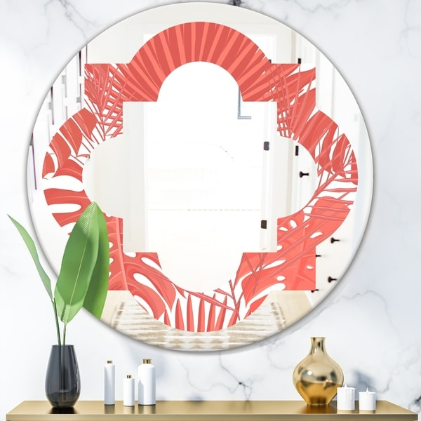 Designart 'Tropical Retro Foliage Coral I' Modern Round or Oval Wall Mirror - Quatrefoil