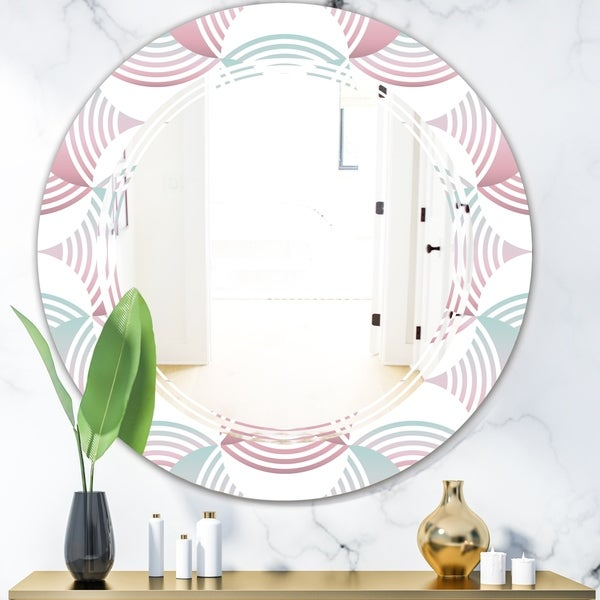 Designart 'Retro Geometrical Abstract Pattern I' Modern Round or Oval Wall Mirror - Triple C