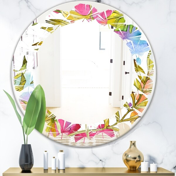 Designart 'Tropical Foliage IV' Cottage Round or Oval Wall Mirror - Leaves - Multi
