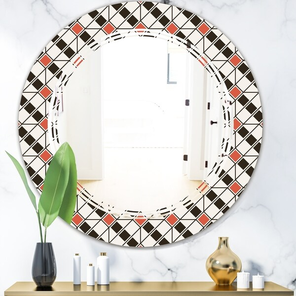 Designart 'Abstract Design Retro Pattern IV' Modern Round or Oval Wall Mirror - Triple C