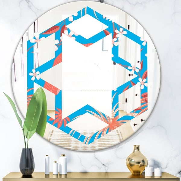 Designart 'Tropical Retro Foliage Coral II' Cottage Round or Oval Wall Mirror - Hexagon Star