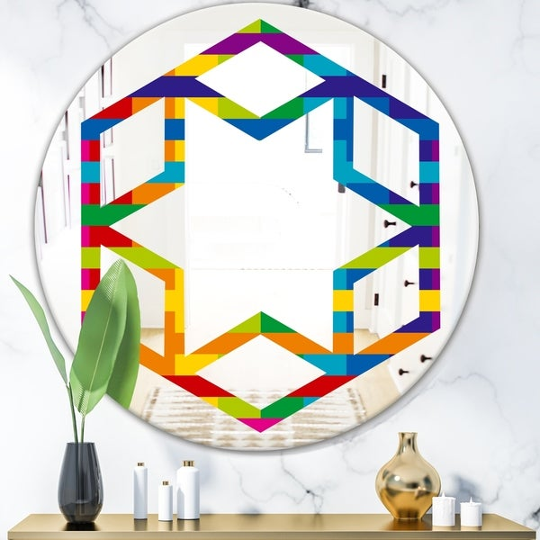 Designart 'Rainbow colors simple geometric pattern.' Modern Round or Oval Wall Mirror - Hexagon Star - Multi