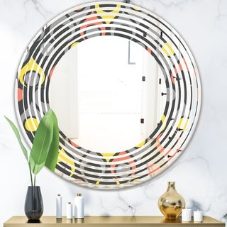 Designart 'Retro Abstract Drops I' Modern Round or Oval Wall Mirror - Wave