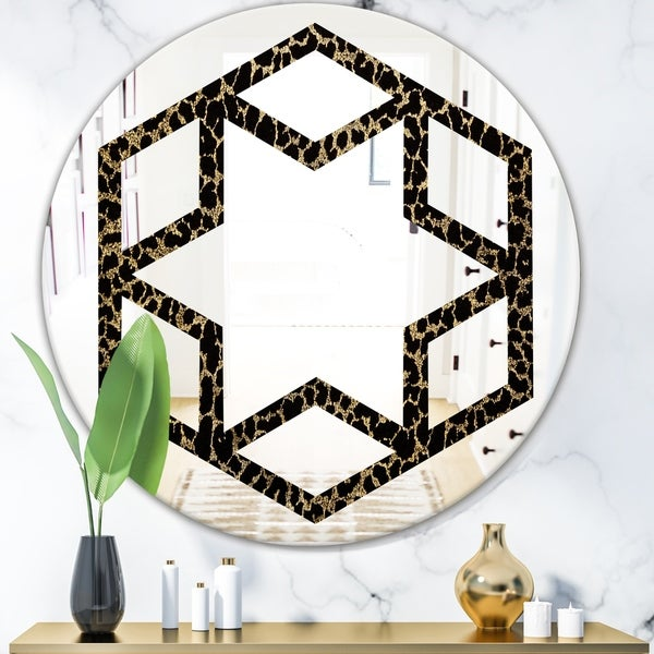 Designart 'Leopard Fur Safari V' Modern Round or Oval Wall Mirror - Hexagon Star