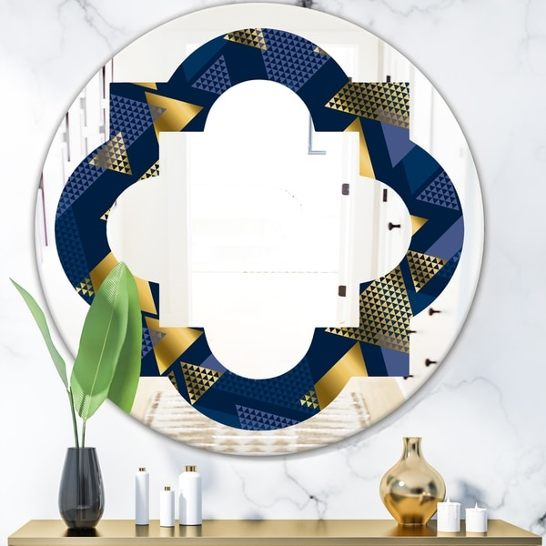 Designart 'Retro Luxury Waves In Gold and Blue IX' Modern Round or Oval Wall Mirror - Quatrefoil