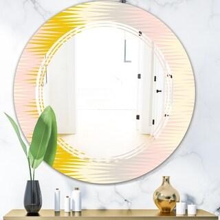Designart 'Retro Abstract Design IV' Modern Round or Oval Wall Mirror - Triple C