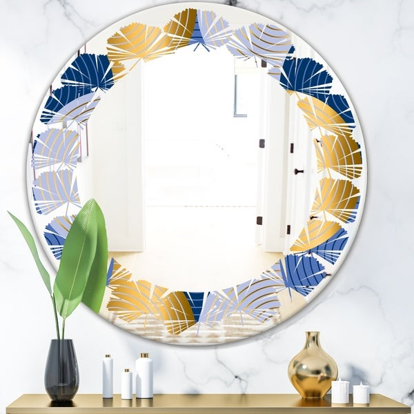 Designart 'Retro Luxury Waves In Gold and Blue X' Modern Round or Oval Wall Mirror - Leaves