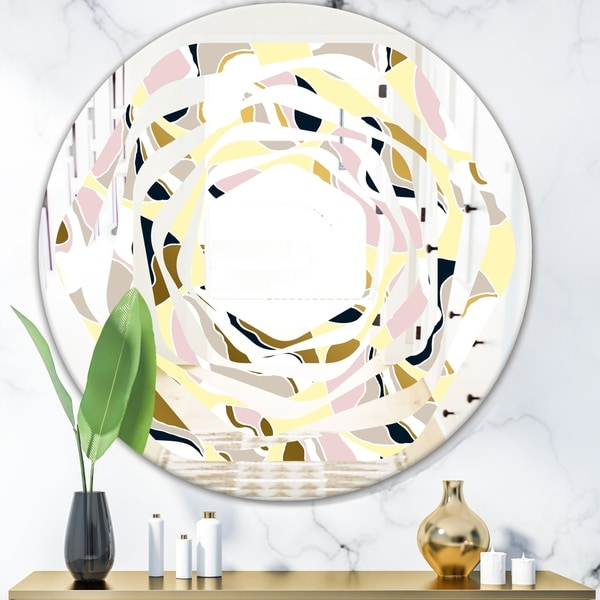 Designart 'Golden River Stones' Modern Round or Oval Wall Mirror - Whirl