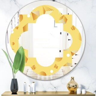 Designart 'Minimal Yellow Geometrical Shapes' Modern Round or Oval Wall Mirror - Quatrefoil