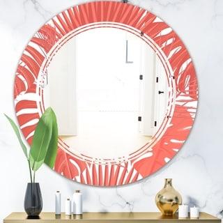 Designart 'Tropical Retro Foliage Coral I' Modern Round or Oval Wall Mirror - Triple C