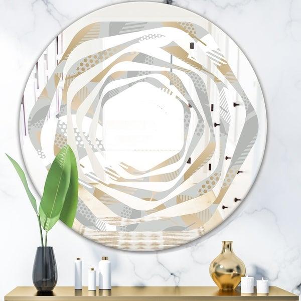 Designart 'Luxury geometric fall leaves pattern' Modern Round or Oval Wall Mirror - Whirl