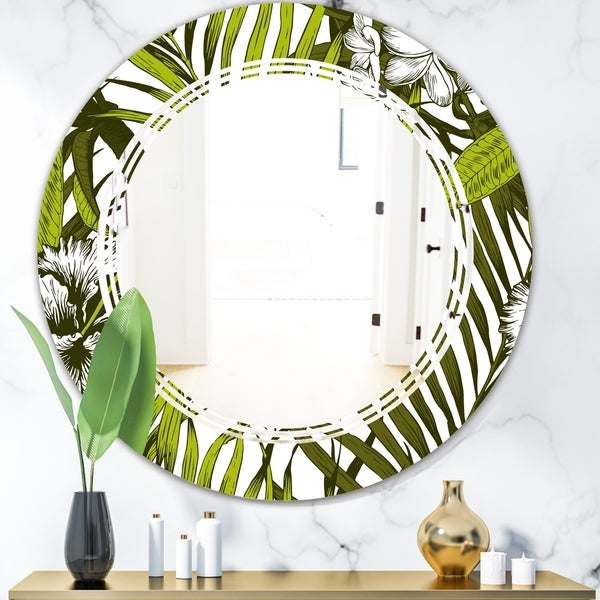 Designart 'Tropical Palm Leaves I' Modern Round or Oval Wall Mirror - Triple C