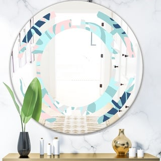 Designart 'Retro Floral Pattern II' Modern Round or Oval Wall Mirror - Space