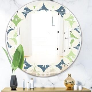 Designart 'Retro Geometric Design V' Modern Round or Oval Wall Mirror - Leaves