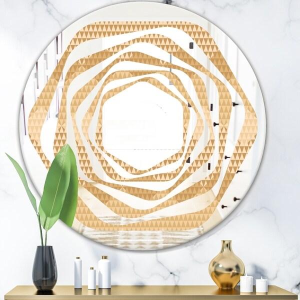 Designart 'Beige Retro Triangular Wave' Modern Round or Oval Wall Mirror - Whirl