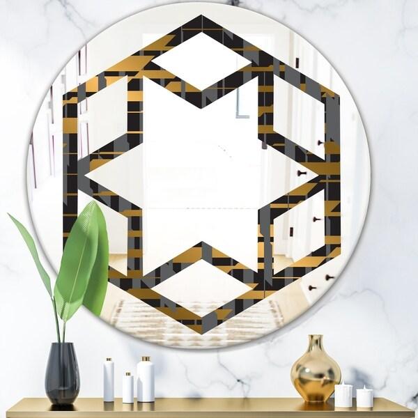 Designart 'Gold Checkered Pattern I' Modern Round or Oval Wall Mirror - Hexagon Star